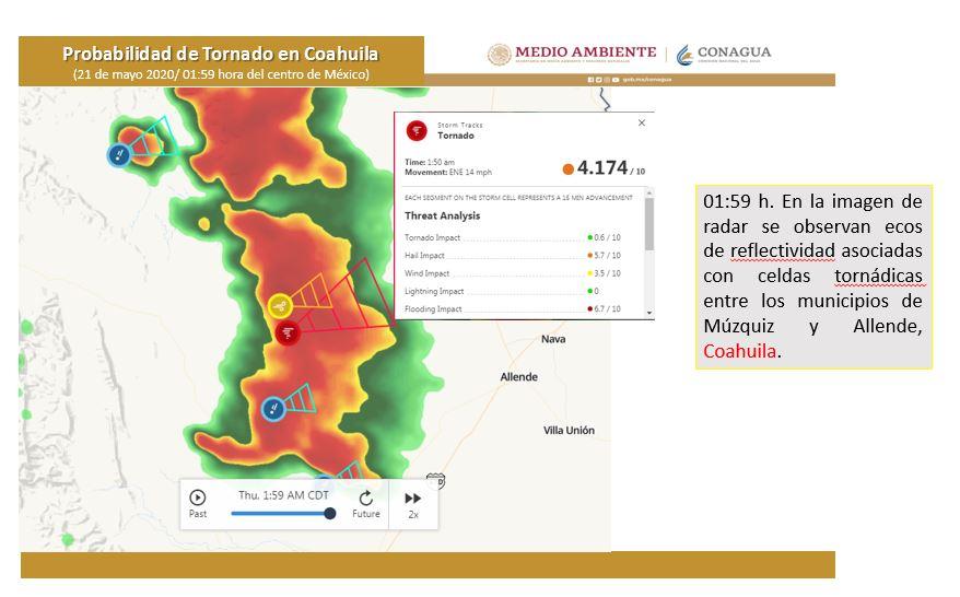 Formación de tornados en Coahuila