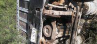 Vuelca camión torton y lo abandonan en la carretera Muzquiz-Boquillas