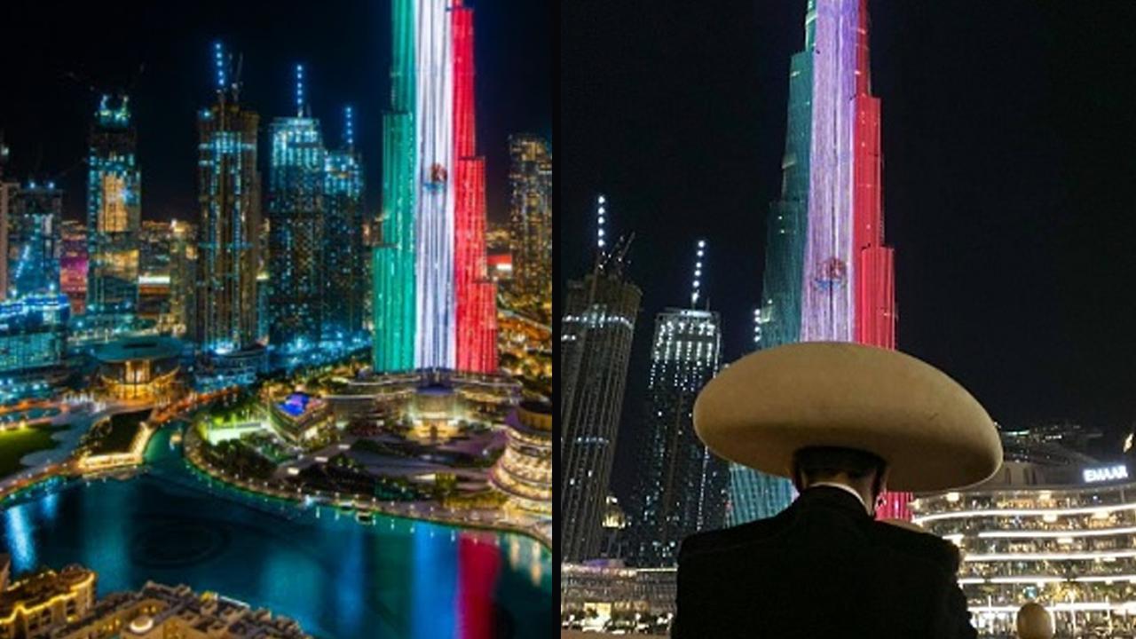 Iluminan en Dubai al Burj Khalifa, el edificio más alto del mundo con imagen de la bandera de México