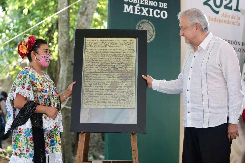 Pide AMLO perdón al pueblo maya por tratos en tiempos de conquista