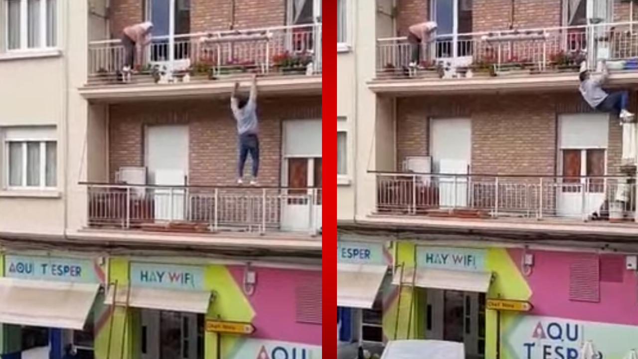 Joven trepa por la fachada de un edificio para rescatar a una abuelita