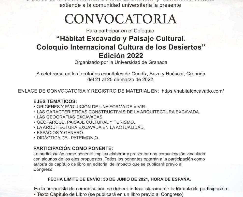 """Participa como Ponente en el Coloquio Internacional """"Memoria de los Desiertos Edición 2022"""" que Organiza la Universidad de Granada"""