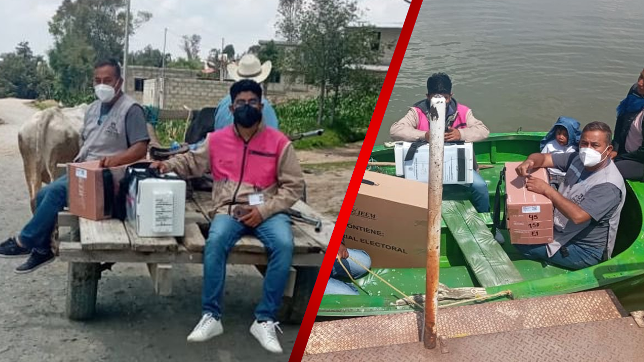 INE hace entrega de paquetes electorales a bordo de lancha, burro o a pie