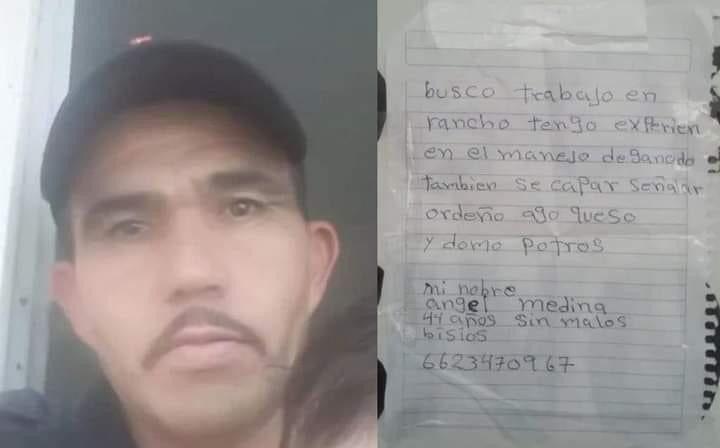 Hombre escribe su currículum a mano y los pega en las calles